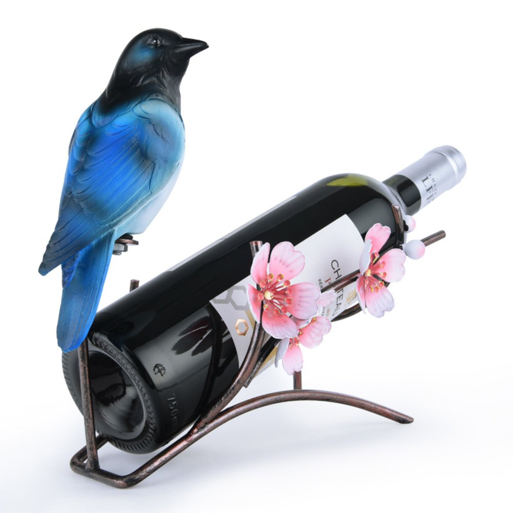 JIEJIEDE Tabletop wine racks,Creative decoration bottle server display rack unique wine stand stable wine bottle holder suitable for home hotel winery display parrot wine rack-A