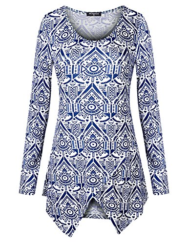 Baby Doll A-line - Miagooo Womans A Line Tunic Long Sleeves Summer Shirts Dress Top(Blue1,XX-Large)