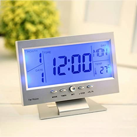 Royals Digital Lcd Clock With Calendar , Temperature Sensor , Alarm For Table And Study Desk