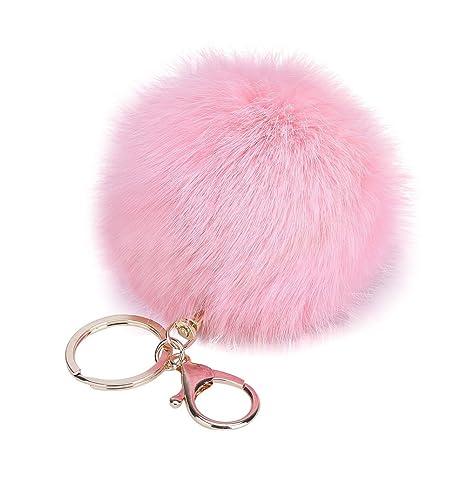 Cosanter Lindo Pompon Llaveros Bola de Piel Decoración de Coche Bolso Llavero de San Valentín para Teléfono Coche Colgante (Rosa) 8 cm