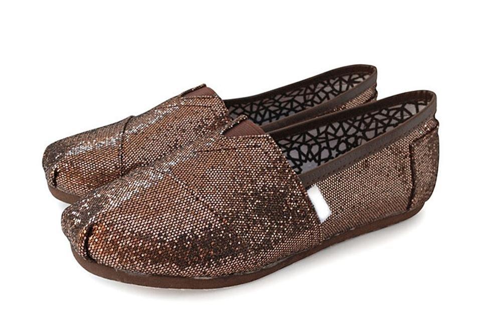 Playworld Womens Classic Sequin Slip On Shoes Ballerina Ballet Flats Loafers B01BS4ZU3I 5.5 B(M) US|Coffee