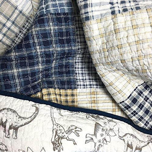 Cozy brand Plaid Dinosaur Prints Quilt Sets