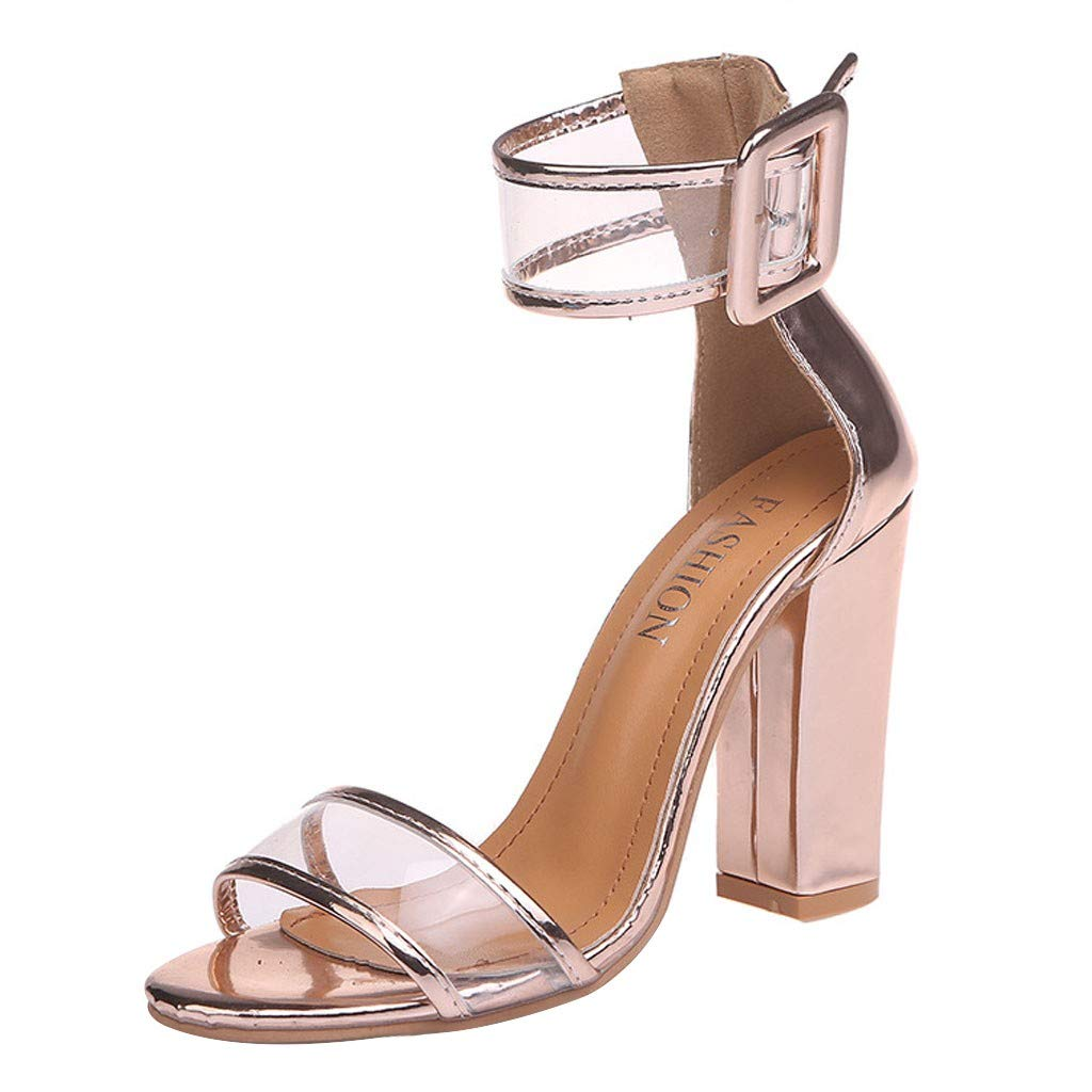 Ladies SandalsFzitimx Summer Womens Sandals Buckle Business Casual Fashion Simple High Heels Shoes Platform Thick Bottom Wedge Sandals
