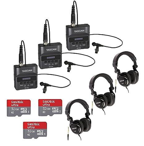 Tascam dr-10l grabadora digital con Tascam auriculares y ...