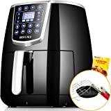 BEECALE 4.2-Quarts Digital Air Fryer,Touch Screen Control,Smart Programs with Automatic and Manual Timer Temperature Controls,Includes Baking Set and Recipe Book,Black