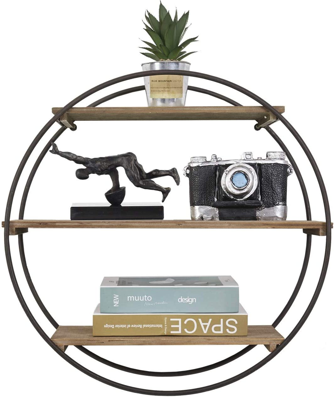 RiteSune Decorative Round 3 Tier Floating Shelves for Bedroom Bathroom Living Room Kitchen Office Wall Decor