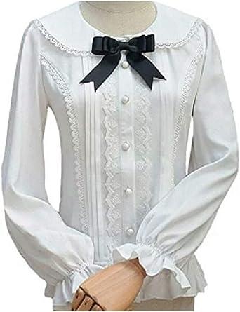 Double Villages Falda Plisada con Volados de Gasa Blusa para Mujer Blusa Lolita Victoriana Retro Blusa (M): Amazon.es: Ropa y accesorios