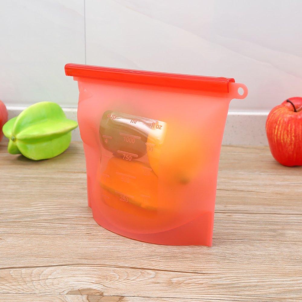 Food Storage Bag Food Grade Vegetable Storage Bag, Silicone Vacuum Sealed Bag, Reusable,Frozen, Fruits Vegetables Meat 2318CM(1000ml),1pcs Asien