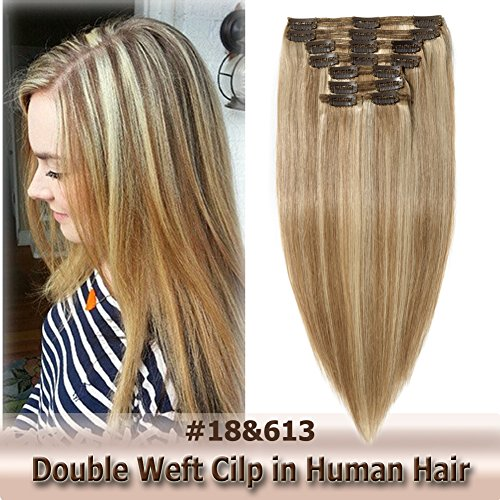 8A Grade Clip in Hair Extensions Human Hair Double Weft 10 Inch 110g Thick Soft Straight Real Remy Hair 8pcs Clip on (Ash Blonde mixed Bleach Blonde #18/613, - California In Malls La