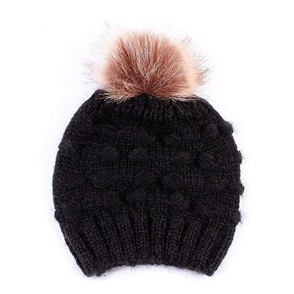 FreshZone Toddler Kids Cap Girl Boy Baby Infant Winter Warm Crochet Knit  Hat Beanie Cap with b48759ddc17
