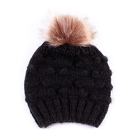 Kids Winter Pom Pom Hat - Knitted Faux Fur Hairball Beanie Hats for  Children Girls Boys 96d9f62ca98