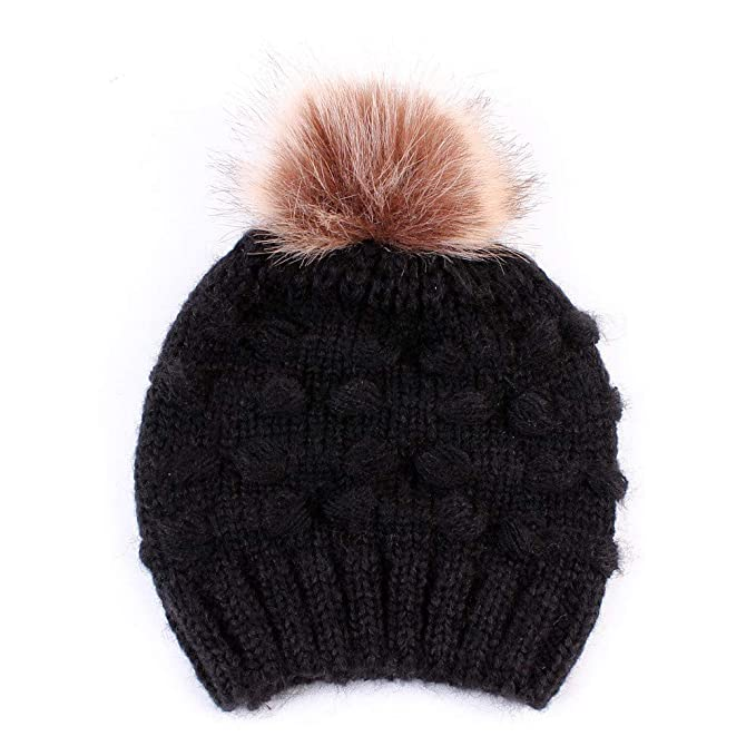 2018 Winter Blends Kid Beanies Knit Hat Real Pompoms Fur Ball Beanie Toddler Kids Caps Lovely Knit Crochet Bonnet Accessories Men's Hats