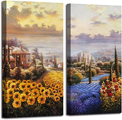 Arjun Canvas Wall Art Tuscan Sunflower Field Painting Itanlian Countryside Yellow Flowers Picture Rustic Artwork for Bedroom Office Wall Decor Home Decoration 16 x32 x2 Panels