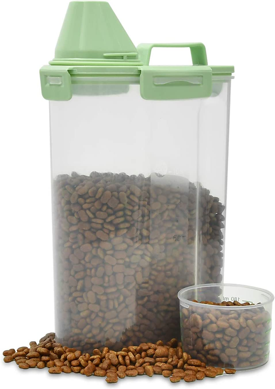 FC Pet Food Container, Dog Food Storage with Measuring Cup and Pour Spout, Airtight Plastic Containers with Four Clasps for Dogs, Cats, Birds.