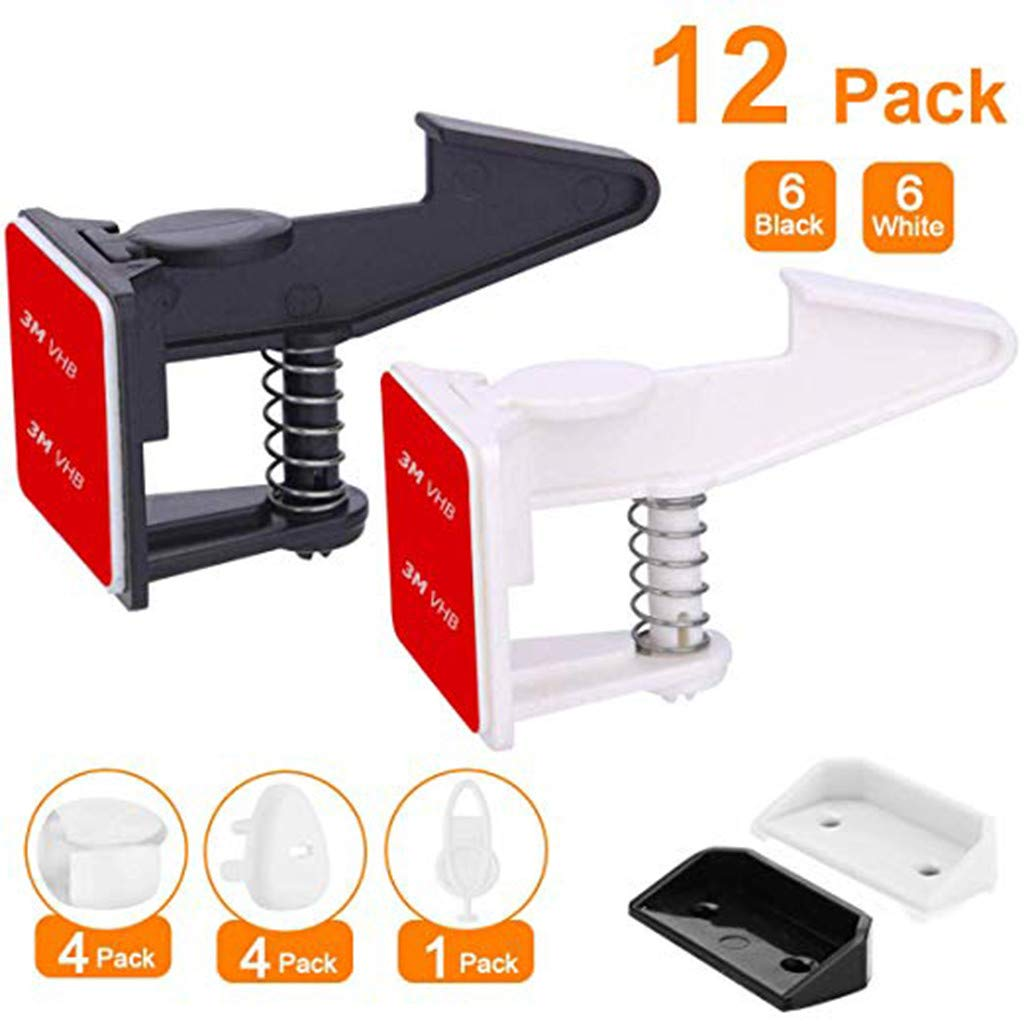 charts_DRESS Cabinet Locks Child Safety Latches Drawer 12 Pack Baby Proofing Cabinets Drawer Lock with Adhesive Easy Installation - No Drilling or Extra Screws Fixed (Black White)
