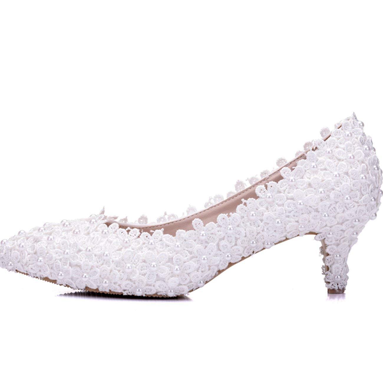 HhGold Damen Spitze Blaumen Blaumen Blaumen 2 Heel Slip-on Weiß Braut Hochzeit Formale Partei Abend Pumps Schuhe UK 3 (Farbe   -, Größe   -) 6ce676