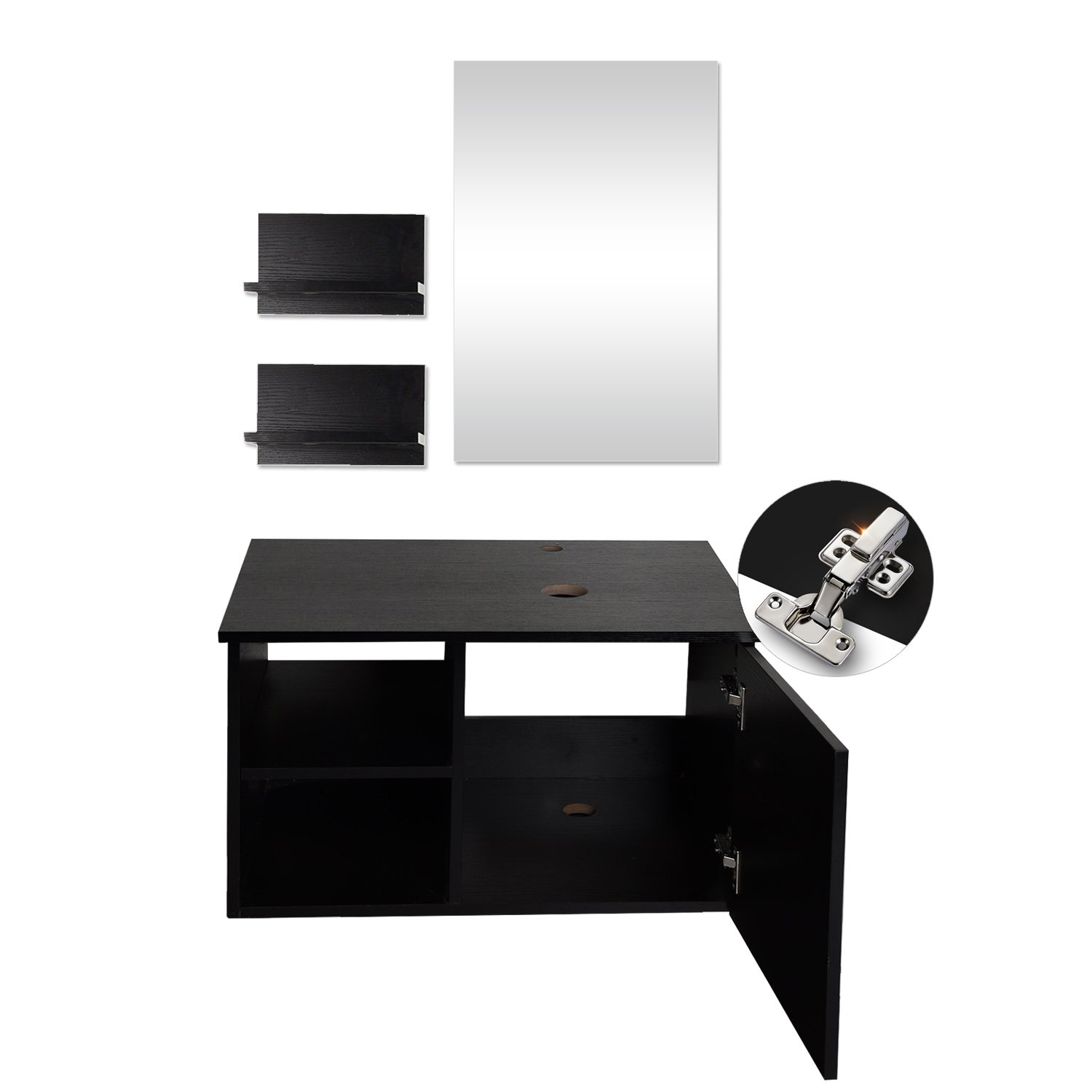 28 Inches Bathroom Vanity Modern Lavatory Wall Mounted Wood Cabinet with Mirror Wood Black Fixture Tempered Glass Sink Top with Single Faucet Hole