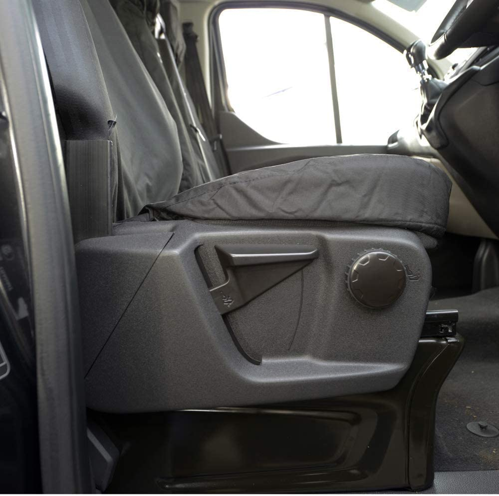 UK Custom Covers SC431B Tailored Heavy Duty Waterproof Front Seat Covers with Transit Custom Embroidery Single//Double Black