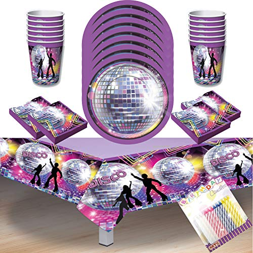 Disco Fever 70s Party Supplies Pack Serves 16: Dessert Plates, Beverage Napkins Cups and Table Cover with Birthday Candles (Bundle for 16) -