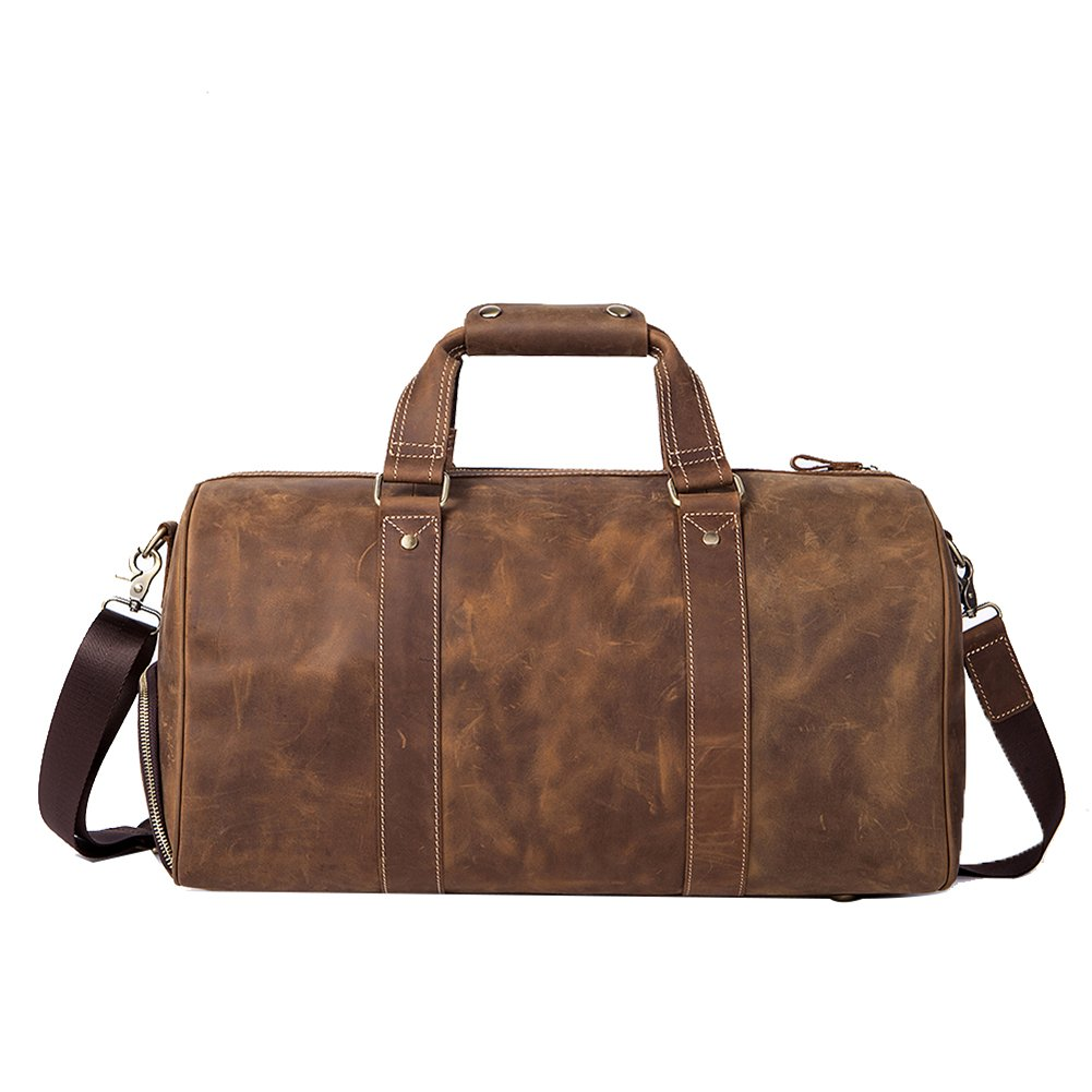Genda 2Archer Mens Vintage Leather Large Weekender Duffel Bag Luggage Tote