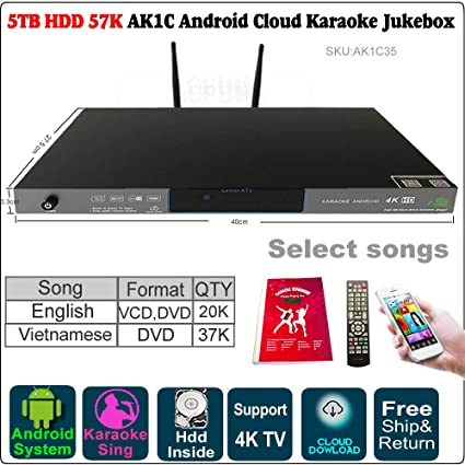 Amazon com: 5TB HDD 57K Songs Android Karaoke Player/Jukebox
