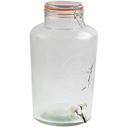 4 litros de cristal transparente dispensador de bebidas con grifo y hermético tapa
