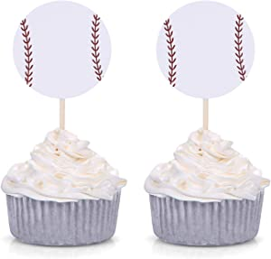 Set of 24 White Baseball Cupcake Toppers for Baseball Party Birthday Baby Shower Picks Decorations