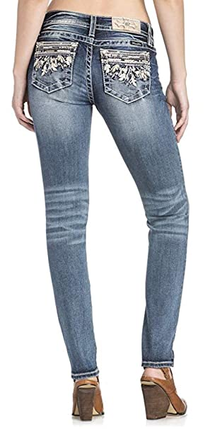 11d87c063a6d7 Amazon.com  Miss Me Women s Hailey Pearl and Leaf Motif Embellished Pocket  Mid-Rise Skinny Jeans  Clothing