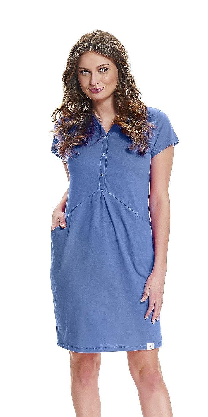 dn-nightwear Damen Umstandsnachthemd/Stillnachthemd TCB.9452 aus 100% Baumwolle