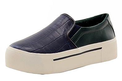 eea7e4a55bd DKNY Donna Karan Women s Bess Platform Navy Green Croc Sneakers Shoes Sz   7.5