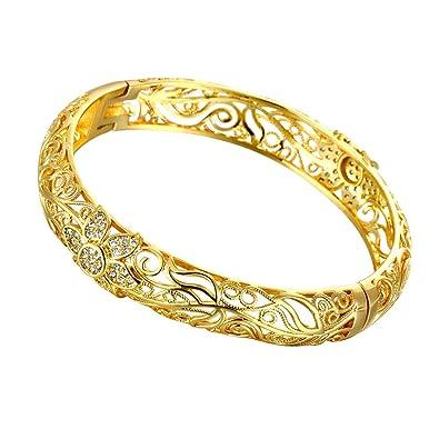 molto carino ad970 ef818 Bracciale rigido in filigrana, placcato in oro giallo 18 carati, motivo  fiorellini