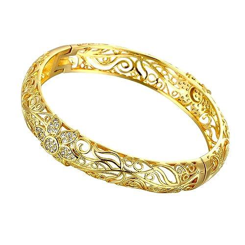 molto carino 7920b 95524 Bracciale rigido in filigrana, placcato in oro giallo 18 carati, motivo  fiorellini