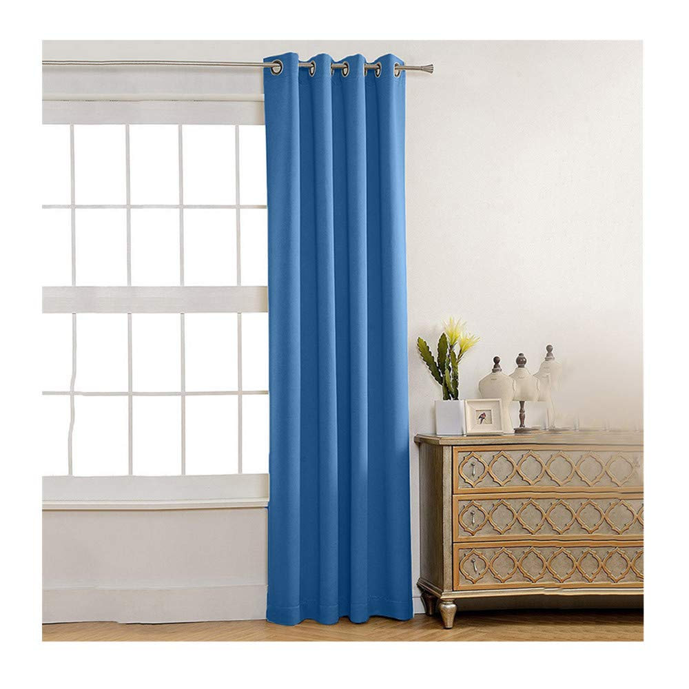 Insulated Foam Lined Heavy Thick Curtains,2PCS Blackout Curtain, Modern Smooth Fabric Solid Color Window Door Curtain for Dining Room,Living Room,Bedroom (Blue) by Promisen