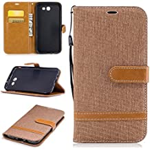 Galaxy J7 2017 Wallet Case, Galaxy J7 V Case, Galaxy J7 Perx Case, Galaxy J7 Sky Pro Case, Easytop Wallet Flip Protective Case Cover with Card Slots and Stand for Samsung Galaxy J7 2017 (Brown)