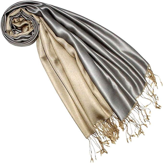Lorenzo Cana High End Luxus Pashmina Wendeschal 70/% Seide 30/% Viskose Schaltuch 70 x 190 cm zweifarbig Schal Stola wendbar Double Face