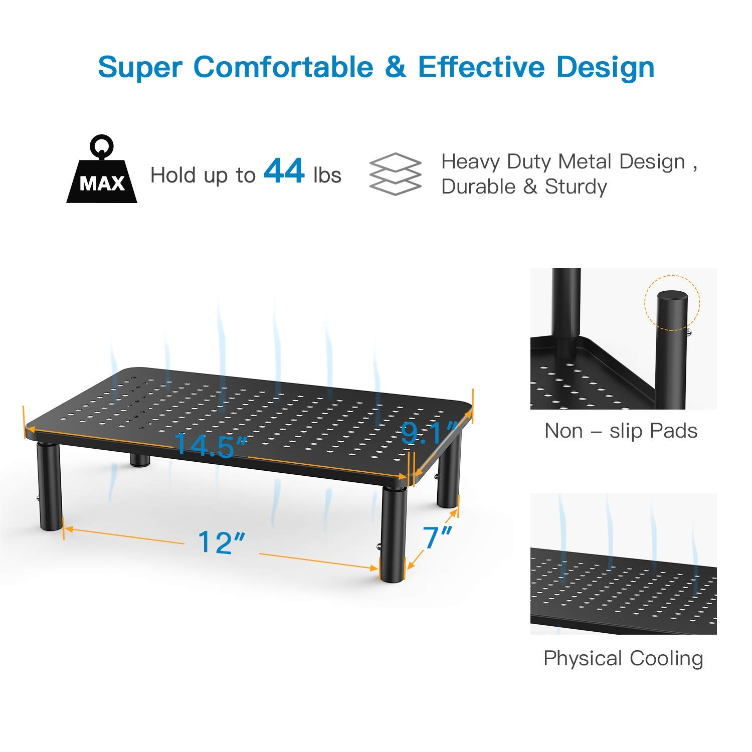 Monitor Stand Riser - 3 Height Adjustable Monitor Stand for Laptop, Computer, iMac, PC, Printer, Desktop Ergonomic Metal Monitor Riser Stand with Mesh Platform for Airflow by HUANUO (2 Pack) by HUANUO (Image #4)