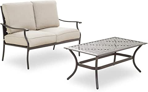 PatioFestival Patio Loveseat 2-Person Cushioned Outdoor Sofa Bench with Coffee Table All Weather Steel Frame (2 Pcs,Beige)