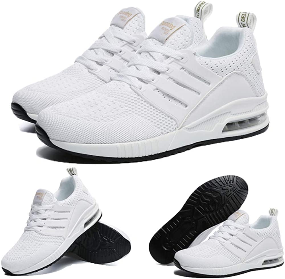 Homme Femme Air Baskets Chaussures Outdoor Running Gym Fitness Sport Sneakers Outdoor Casual Style Running Multicolore Respirante Mode Sneakers 36-44EU Blanc