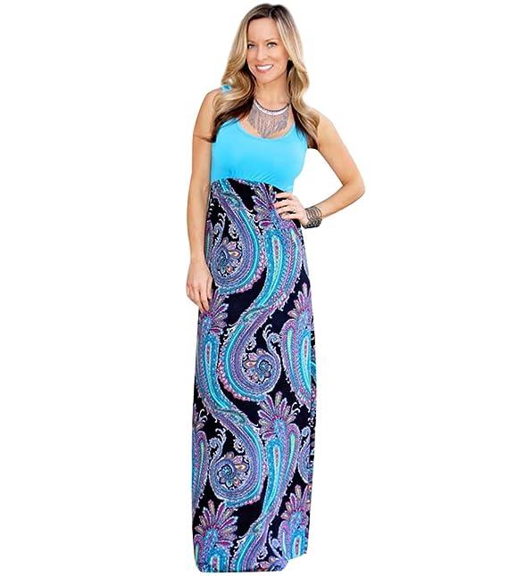 Vestidos Largos de Dia Fiesta Noche Vestido Largo de Verano Mujer Maxi Vestidos Estampados Casuales Playeros