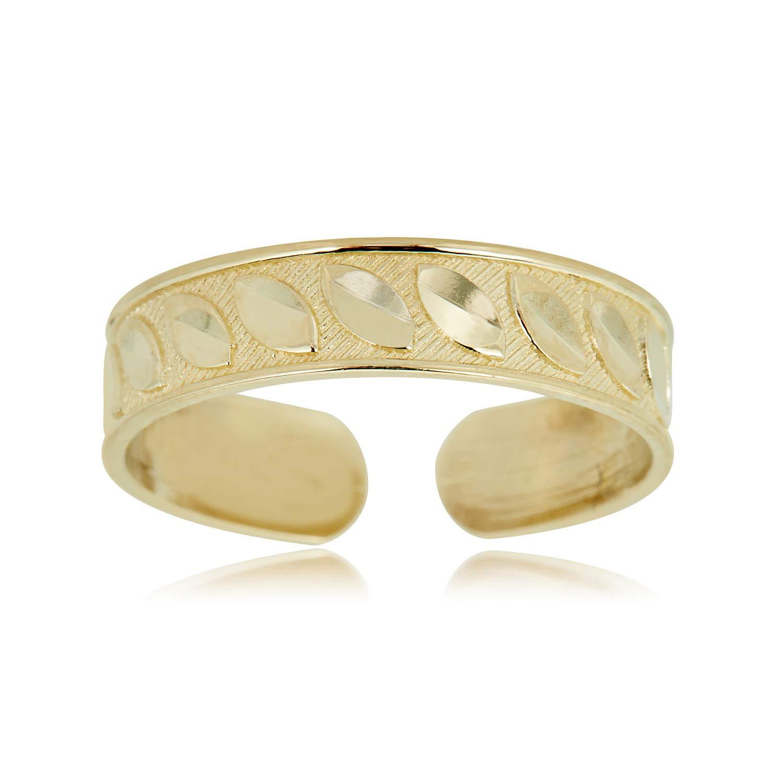 10K Yellow Gold Adjustable Diamond-cut Leaf Toe Ring by AVORA