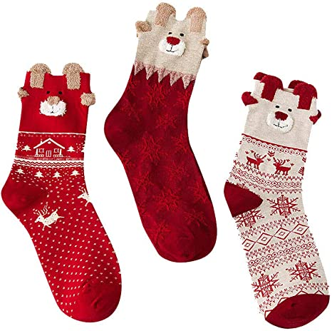 Unisex Cartoon Reindeer Snowman Snowflake Pattern Socks for Kids Xmas Socks for Toddlers ZZBIQS 5 Pairs Santa Claus Cotton Winter Socks for Children