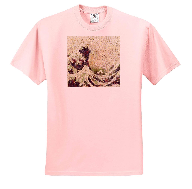 Decoupage Adult T-Shirt XL Fine Art Parody The Great Wave of Honeydew Melon After Hokusai 3dRose Taiche ts/_309620