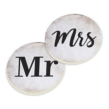 Automotive Beverage Holder Coaster Set of 2 - Mr. & Mrs.