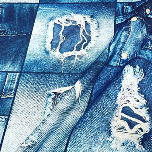 Denim Jeans Effect Fabric for Interior Decoration, Curtains - Blue Denim Patchwork Cotton Material - Digital Denim Print Canvas (Sample 4