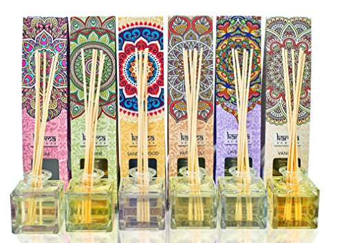 Scented Esseential Oil Reed Diffuser Aromatherapy Gift Pack, By karma Scents,Variety 6 Pack