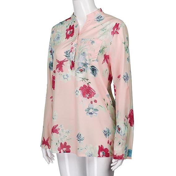 Mujer blusa elegantes,Sonnena ❤ Camisa de gasa mujer talla grande Blusa de manga larga con estampado floral Pullover Tops Shirt: Amazon.es: Hogar