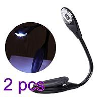 LEDMOMO Lumière de mini livre, lampe de lecture flexible réglable à LED portable, noire [Classe énergétique A+] (2pcs)