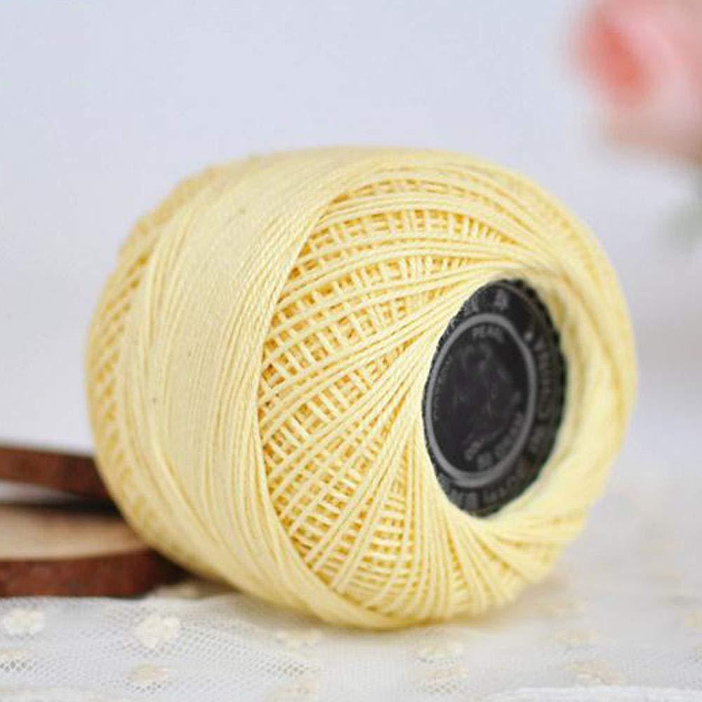 Clisil Size 3# Yellow Mercerized Lace Cotton Yarn Crochet Thread DIY Lace Top Dress Knitting Supplies Summer Yarn