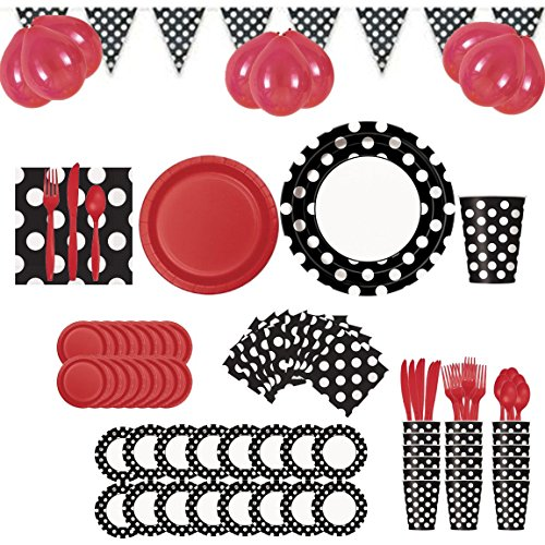 Ladybug 50s Theme Party Supplies and Decorations Set - Red, Black & White Polka Dot (Serves 16)