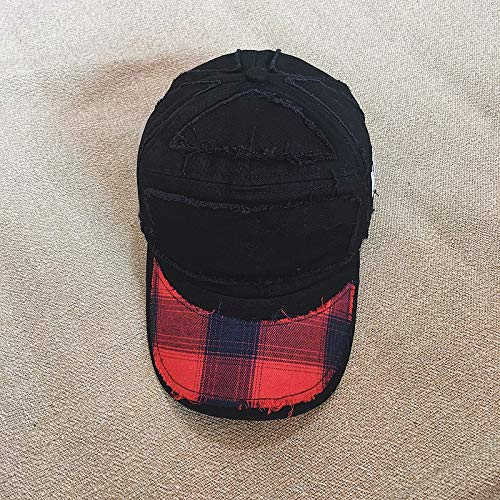 Torn Edges Old Soft Plaid Baseball Hat Cap Brim benders Cap Men Man Korean Fashion Wave Hip-hop